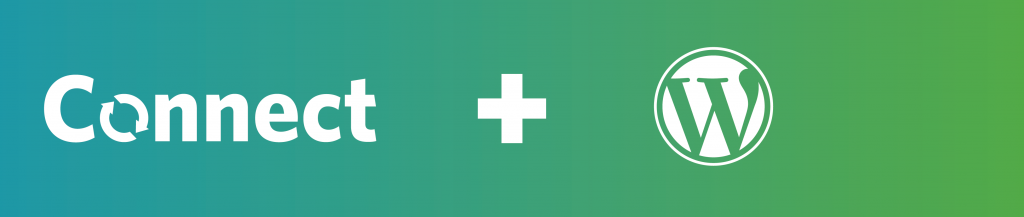 A banner image with the Connect and WordPress logos. A plus sign is in between and the background is a gradient from teal (Connect colours) on the left to green (UBC Blogs colours) on the right.