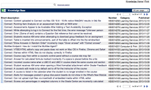 A screenshot of the known issues list in ServiceNow